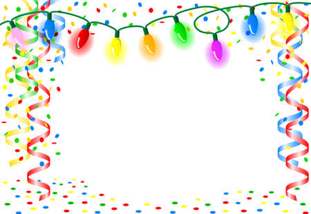 childrens birthday party: vector illustration of a party background with chain of lights Illustration