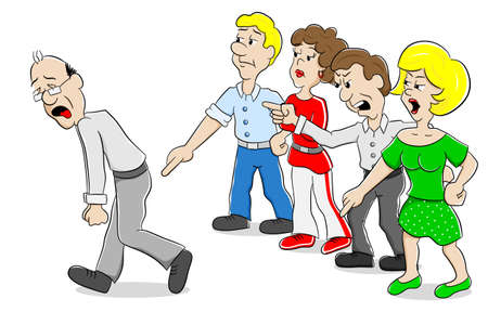 mobbing: vector illustration of many people arguing with each other