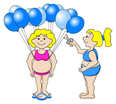 bathroom scale: vector illustration of an overweight woman that outwits a bathroom scale with balloons