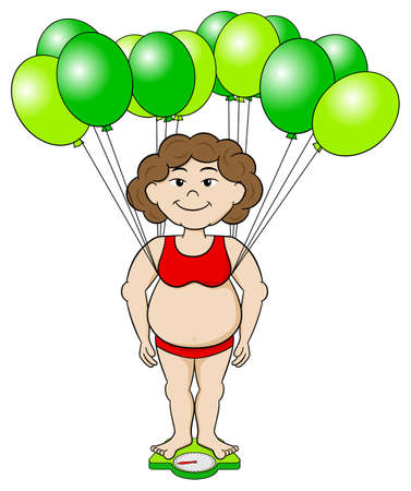 vector illustration of an overweight woman that outwits a bathroom scale with balloons Vector