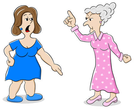 argumentation: illustration of two women are of different opinion
