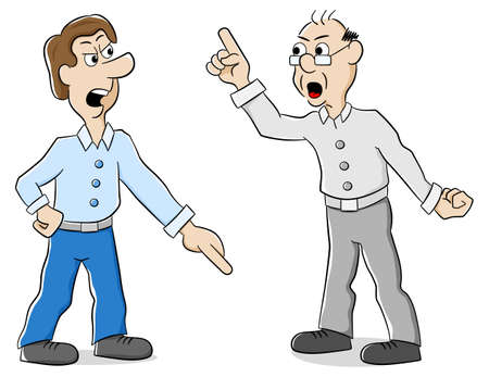 vector illustration of two men are of different opinion