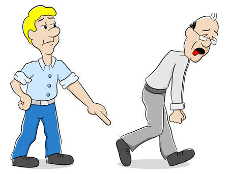 controversy: vector illustration of two men are of different opinion