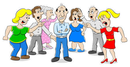 personas discutiendo: ilustración vectorial de muchas personas que discuten con uno Vectores