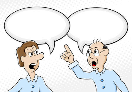 argumentation: vector illustration of two men are of different opinion with empty speech bubbles