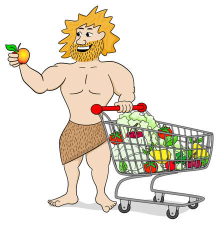 caveman cartoon: vector illustration of a caveman with shopping cart filled with fruit and vegetables
