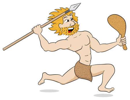 caricaturas de personas: ilustración vectorial de un hombre de las cavernas de caza con lanza y maza Vectores
