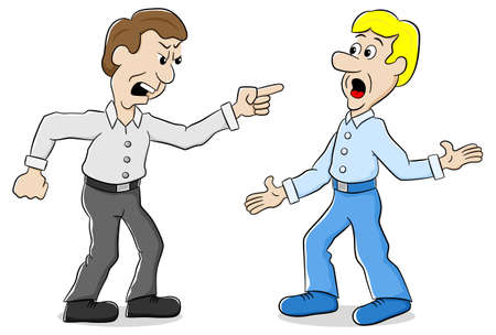 rivalry: vector illustration of two men are of different opinion
