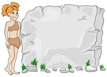 hombre prehistorico: ilustración vectorial de una mujer de la cueva frente a la tableta de piedra con copia espacio Vectores