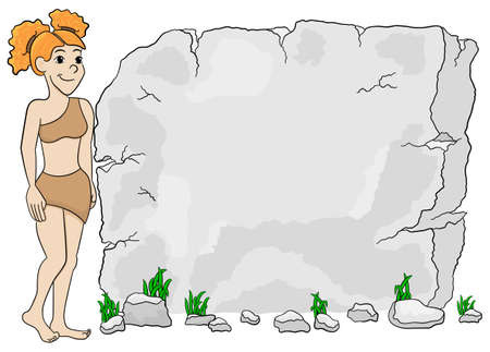 woman tablet: vector illustration of a cave woman in front of stone tablet with copy space