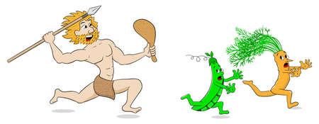 vector illustration of a vegetarian stone age man hunts vegetables Vector
