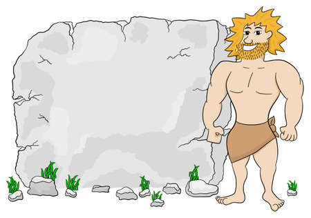 masculinity: vector illustration of a cave man in front of stone tablet with copy space Illustration
