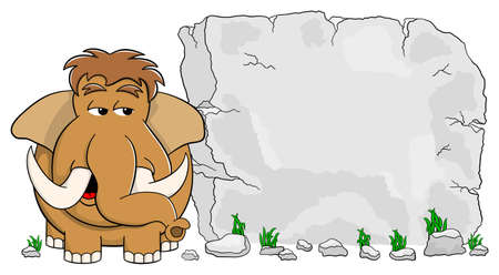 mammoth: vector illustration of a mammoth in front of stone tablet with copy space Illustration