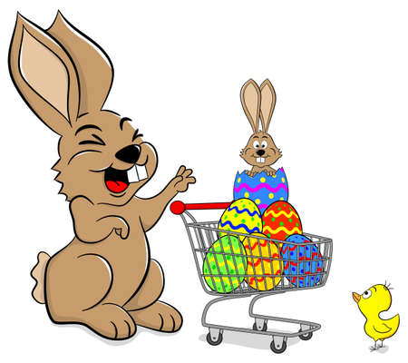 hatchling: vector illustration of a easter bunny with shopping cart