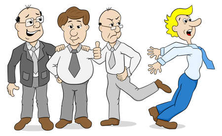 mobbing: vector illustration of a few colleagues who bully another Illustration