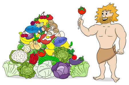 ilustración vectorial de un hombre de las cavernas con la pirámide de alimentos paleo aislado en blanco