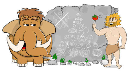 cave dweller: vector illustration of a mammoth explains paleo diet using a food pyramid drawn on stone