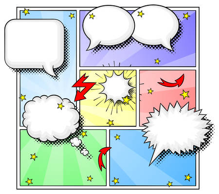 vector illustration of some comic frames as background with speech bubbles Vector