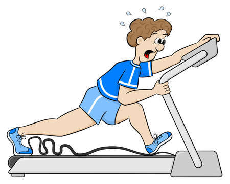 treadmill: vector illustration of an exhaustive treadmill workout