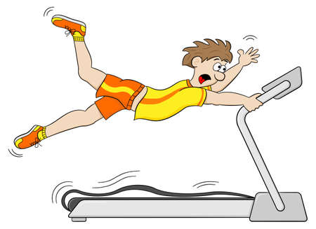 treadmill: vector illustration of a too fast treadmill workout
