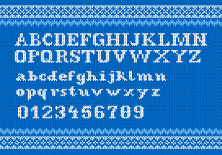 vector illustration of a white knitting alphabet on blue background Vector