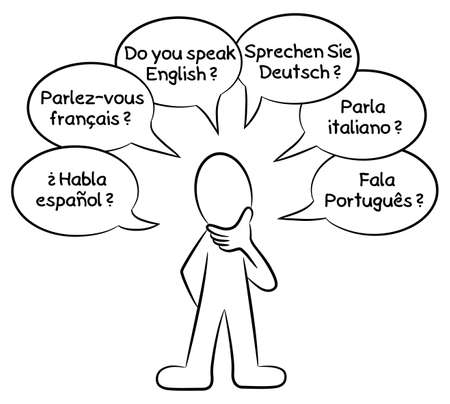 polyglot: vector illustration of a man who wants to know what languages you speak in different languages