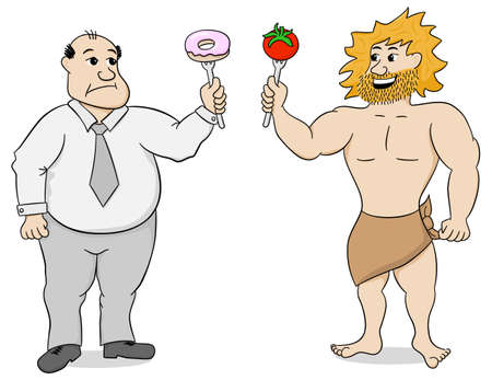 vector illustration of two men with paleo diet and fast food