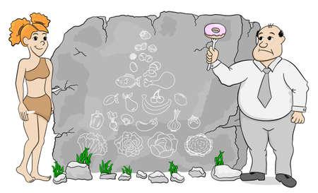 edad de piedra: ilustraci�n vectorial de una mujer de la cueva explica dieta paleo usando una pir�mide alimenticia elaborada en piedra