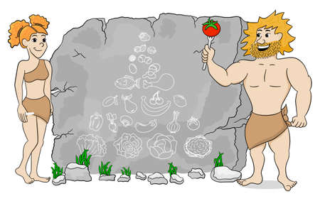 cave dweller: vector illustration of a cave woman explains paleo diet using a food pyramid drawn on stone