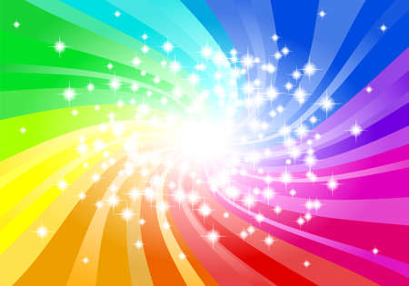 vector illustration of a abstract rainbow colored star background