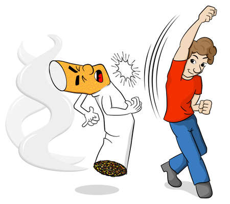 nicotine: vector illustration of a cartoon fight against nicotine addiction Illustration