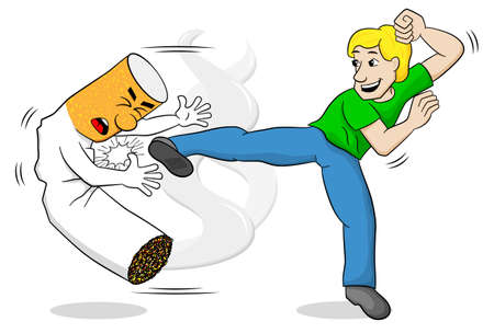 vector illustration of a cartoon fight against nicotine addiction Illustration
