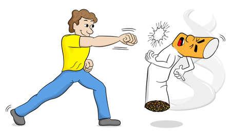 vector illustration of a cartoon fight against nicotine addiction Stock Illustratie