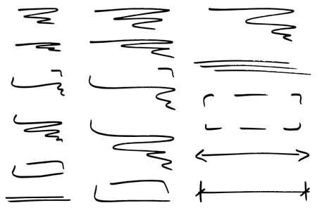 dibujos lineales: ilustración vectorial de elementos de diseño infográficas dibujados a mano