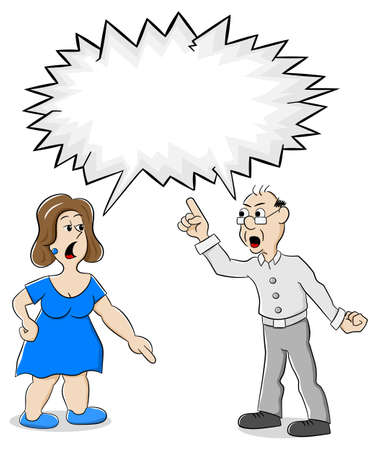 argumentation: vector illustration of two people are of different opinion with empty speech bubble