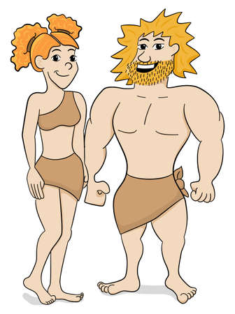 cave dweller: vector illustration of a prehistoric cave dweller couple Illustration
