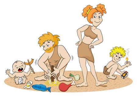 edad de piedra: ilustraci�n vectorial de una toma de familia fuego edad de piedra Vectores