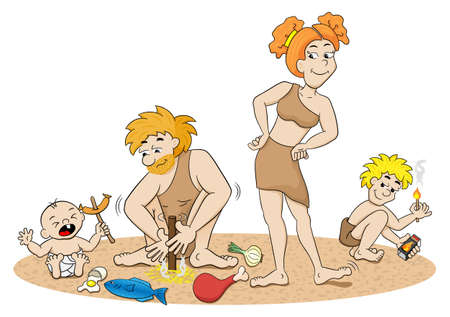 cave dweller: vector illustration of a stone age family making fire