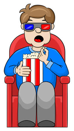 motion picture: vector illustration of a man is watching a 3D movie in a cinema
