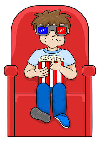 watching 3d: vector illustration of a boy is watching a 3D movie in a cinema