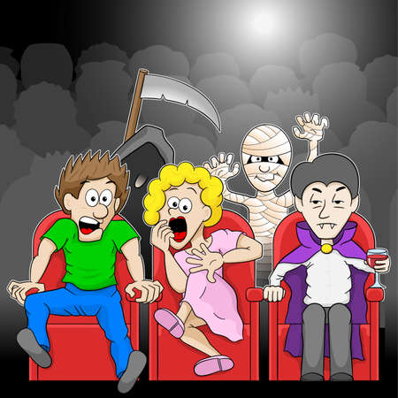 vector illustration of a couple is watching a horror movie movie in a cinema Illustration