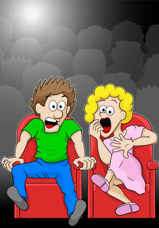 shudder: vector illustration of a couple is watching a horror movie movie in a cinema Illustration