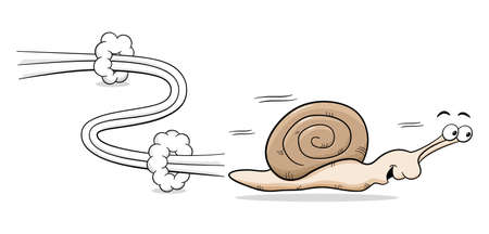 vector illuatration of a speedy snail Çizim
