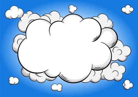 nubes caricatura: ilustraci�n vectorial de nubes de dibujos animados con copia espacio en el cielo