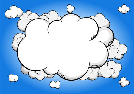 vector illustration of cartoon clouds  with copy space in sky