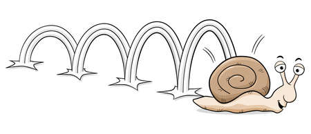 bouncing: vector illustration of a bouncing snail Illustration