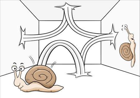 frisk: vector illustration of a bouncing snail Illustration