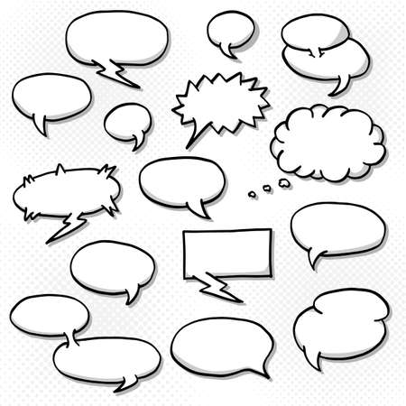 vector: vector illustration of a collection of comic style speech bubbles