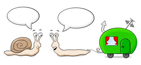 caravans: vector illustration of two snails who are talking about caravans Illustration