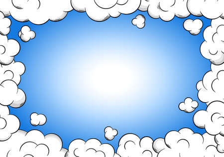 magic frame vector illustration of a cloud frame with sky as background